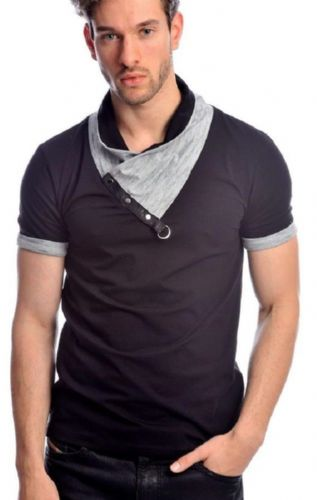 Fargo Designer Black Grey Melange Cowl Neck Crew T Shirt Detailed Reg Fit